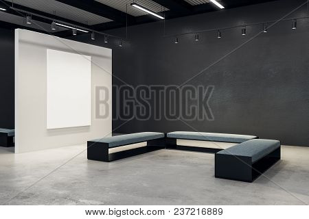 Modern Exhibition Hall With Empty Banner And Bench. Gallery, Art, Exhibit And Museum Concept. Mock U