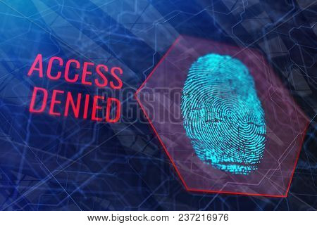 Digital Fingerprnt With Red Text On Blurry Background. Access Denied Concept. 3d Rendering