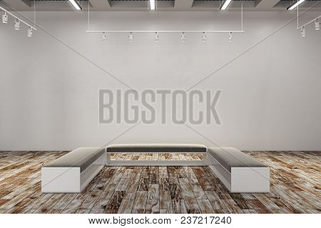 Clean Exhibition Hall With Copy Space On Wall And Bench. Gallery, Art, Exhibit And Museum Concept. M
