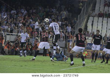 VALENCIA, SPAIN - OCTOBER 2 - Professional Soccer League between Valencia C.F. vs AT. Bilbao - Mestalla Stadium, Aitor Ocio, Aduriz, Spain on OCTOBER 2, 2010