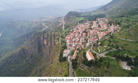 Aerial View Of Modern Delphi Town, Near Archaeological Site Of Ancient Delphi, Voiotia, Greece