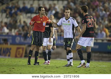 VALENCIA, SPAIN - OCTOBER 2 - Professional Soccer League between Valencia C.F. vs AT. Bilbao - Mestalla Stadium, #20 aitor Ocio, Soldado, Spain on OCTOBER 2, 2010