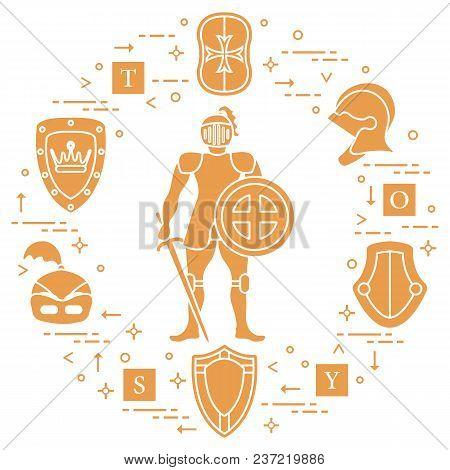 Knight, Shields, Swords, Helmets, Cubes. Design Element For Postcard, Banner Or Print.