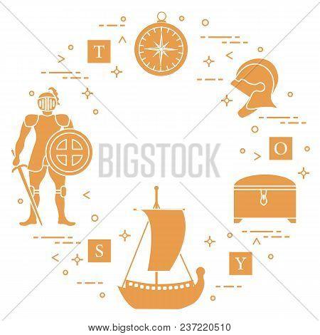 Knight, Shield, Sword, Helmets, Treasure Chest, Compass, Ship, Cubes. Design Element For Postcard, B