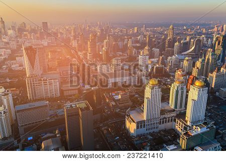 Aerial View Business Downtown Skyline Sunset Tone, Bangkok Cityscape Thailand