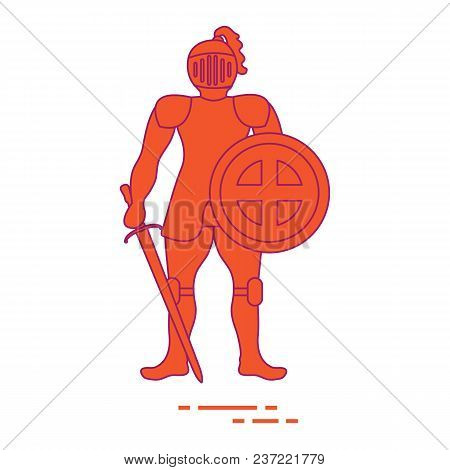 Knight In Armor With Shield And Sword. Design Element For Postcard, Banner Or Print.