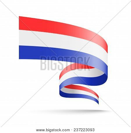 Netherlands Flag In The Form Of Wave Ribbon. Vector Illustration On White Background.
