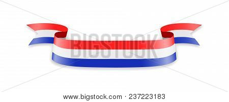 Netherlands Flag In The Form Of Wave Ribbon. Vector Illustration.