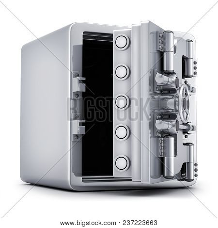 Big, Bank Open Safe, Closed. Isolated On White Background. 3d Illustration.