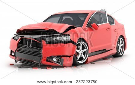 Red Car Crash On Isolated White Background. 3d Illustration