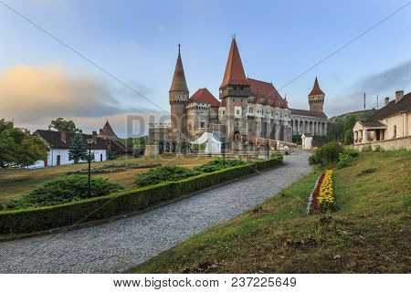 Morning View On Transylvanian Corvin Castle Ans Courtyard