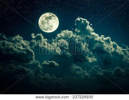 Beautiful Vivid Skyscape. Landscape Of Night Sky With Bright Full Moon And Many Stars, Serenity Natu