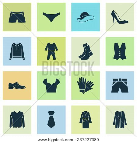 Dress Icons Set With Sweatshirt, Glove, Knickers And Other Tie Elements. Isolated Vector Illustratio