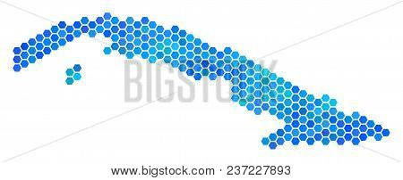 Blue Hexagon Cuba Map. Vector Geographic Map In Blue Color Shades On A White Background. Blue Vector