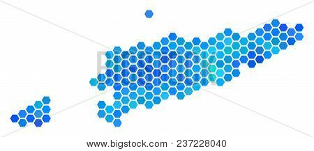 Hexagon Blue East Timour Map. Vector Geographic Map In Cold Color Variations On A White Background.
