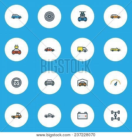 Automobile Icons Colored Line Set With Carwash, Sedan, Wheelbase And Other Sport  Elements. Isolated