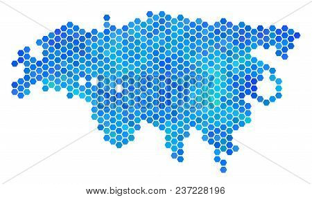 Hexagon Blue Europe And Asia Map. Vector Geographic Map In Cold Color Tinges On A White Background.