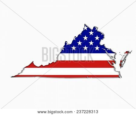 Virginia VA USA Flag Stars Stripes Map 3d Illustration