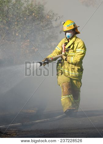 Melbourne, Australia - April 13, 2018: Fire Fighter Spraying Water On A Bush Fire In An Suburban Are