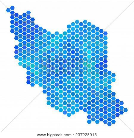 Blue Hexagon Iran Map. Vector Geographic Map In Cold Color Tones On A White Background. Blue Vector