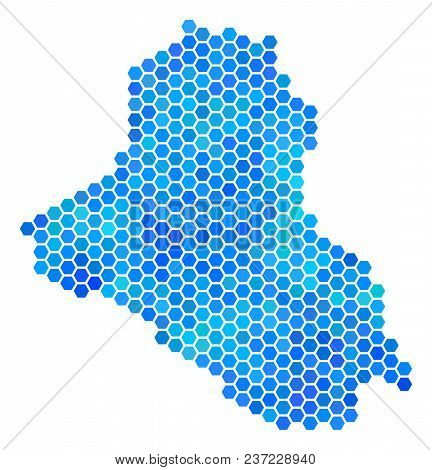 Blue Hexagon Iraq Map. Vector Geographic Map In Blue Color Variations On A White Background. Blue Ve