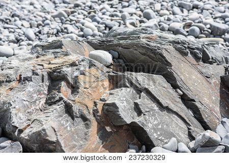 The Rock Goes Along The Seashore Like Texture