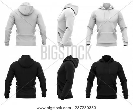 Men's hoodie. Sweatshirt with pocket. 3d rendering. Isolated on white background.