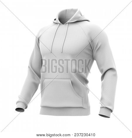 Men's hoodie. Sweatshirt with pocket. Half-front view. 3d rendering. Clipping paths included: whole object, hood, sleeve, rope tie, pocket. Isolated on white background.