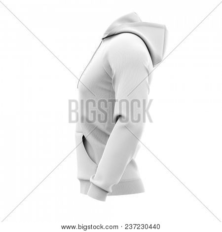 Men's hoodie. Sweatshirt with pocket. Side view. 3d rendering. Clipping paths included: whole object, hood, sleeve, rope tie, pocket. Isolated on white background.