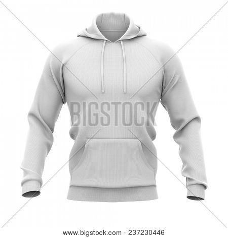 Men's hoodie. Sweatshirt with pocket. Front view. 3d rendering. Clipping paths included: whole object, hood, sleeve, rope tie, pocket. Isolated on white background.