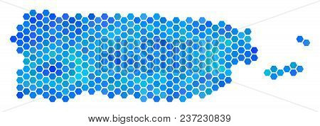 Hexagon Blue Puerto Rico Map. Vector Geographic Map In Blue Color Hues On A White Background. Blue V