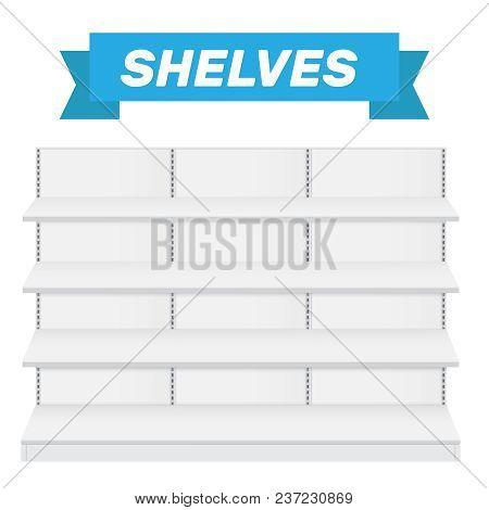 Shop Shelves Isolated. Store Shelves Vector. Retail Shelves Vector Illustration