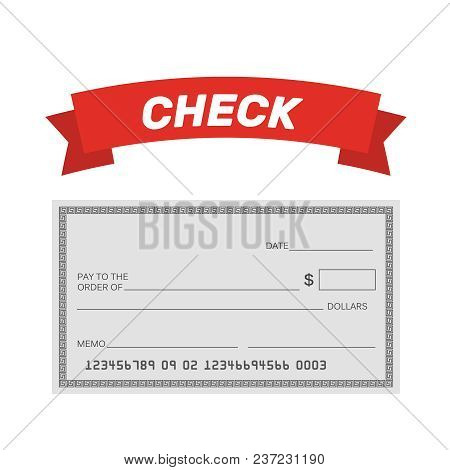 Blank Check Template. Check Vector Template. Banking Check Template