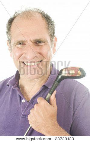 Handsome Middle Age Senior Golfer Man Wood Golf Club