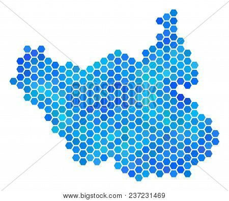 Hexagon Blue South Sudan Map. Vector Geographic Map In Blue Color Tinges On A White Background. Blue