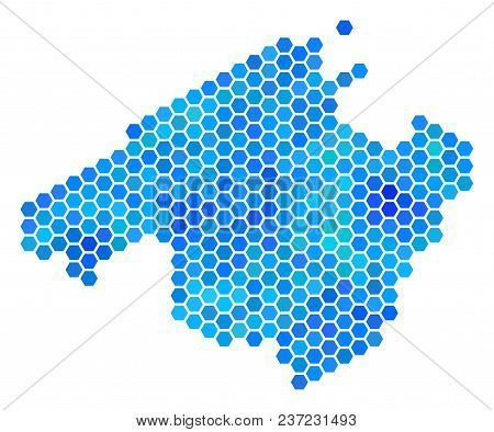 Blue Hexagon Spain Mallorca Island Map. Vector Geographic Map In Blue Color Hues On A White Backgrou