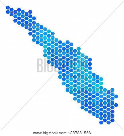 Blue Hexagon Sumatra Island Map. Vector Geographic Map In Blue Color Shades On A White Background. B