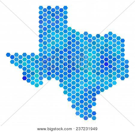 Hexagon Blue Texas Map. Vector Geographic Map In Cold Color Hues On A White Background. Blue Vector