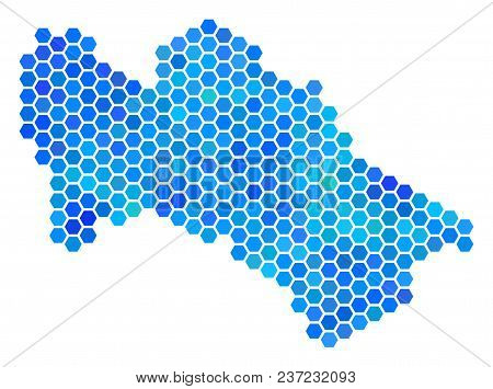 Blue Hexagon Turkmenistan Map. Vector Geographic Map In Blue Color Variations On A White Background.