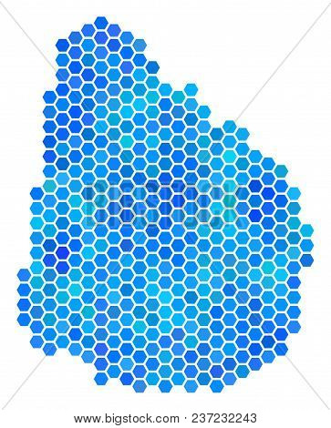 Hexagon Blue Uruguay Map. Vector Geographic Map In Blue Color Tinges On A White Background. Blue Vec