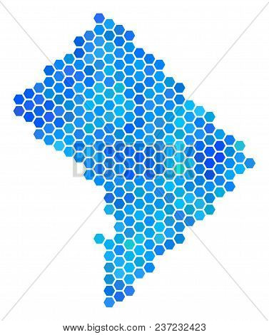 Blue Hexagon Washington Dc Map. Vector Geographic Map In Cold Color Tones On A White Background. Blu