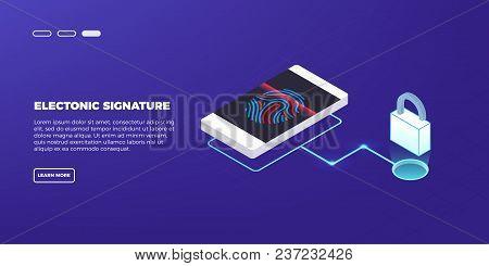 Scan Fingerprint On Laptop. Identification System.business Security Concept. Illustration Of Applica