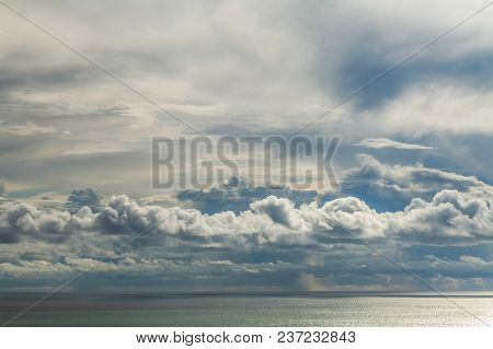 Cumulus Clouds Before The Rain Above The Black Sea.