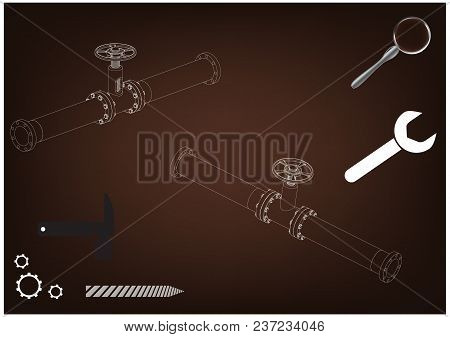 3d Model Of An Pipeline On A Brown Background. Drawing