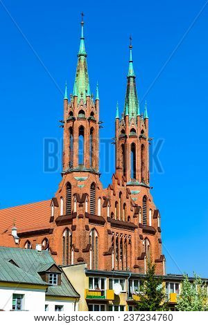 Cathedral Basilica Of Assumption Of Blessed Virgin Mary In Bialystok, Poland. Gothic Architecture Of
