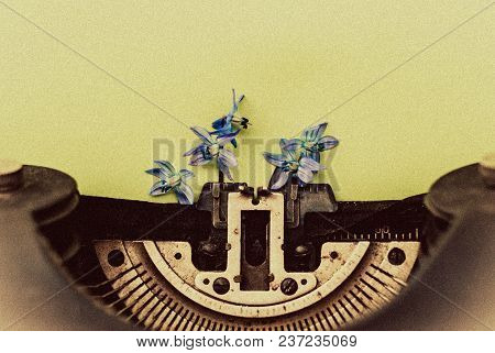 Old Antique Black Vintage Typewriter With Blue Romantic Spring Flowers