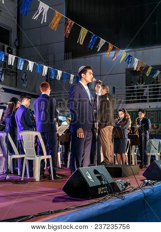 Nahariyya, Israel, April 18, 2018 : The City Brass Band Performs The Anthem Of The State Of Israel A