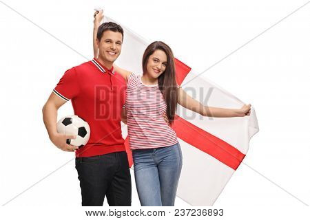 Soccer fans with an English flag isolated on white background