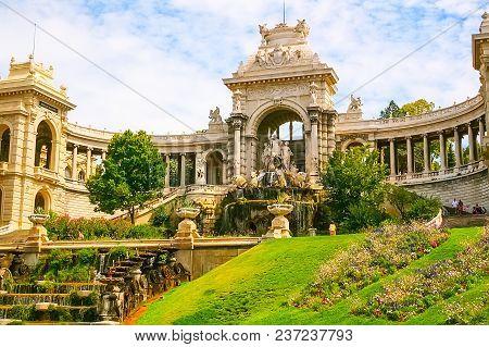 Palais Longchamp And Cascade Fountain In Marseille, France