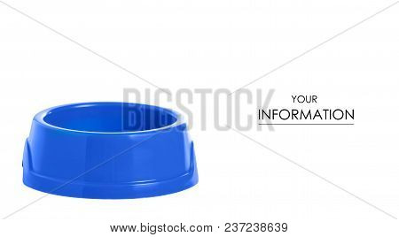 Blue Bowl For Food For Cats And Dogs Pattern On White Background Isolation